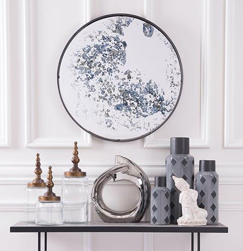 Blue Antique Finish Mirror