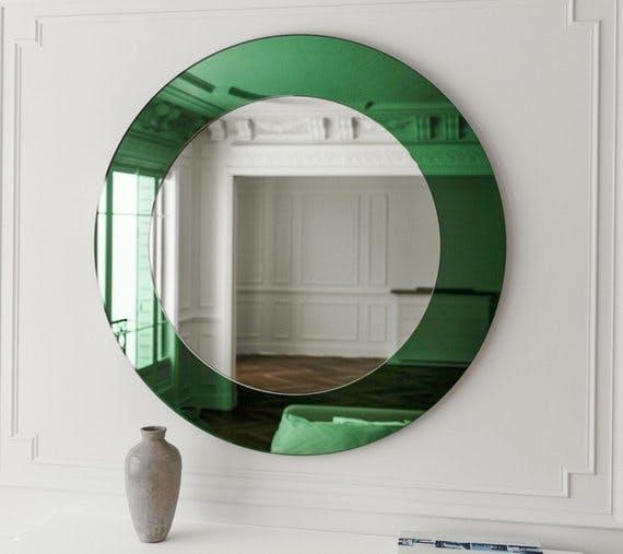 green mirror, round mirror, deco mirror