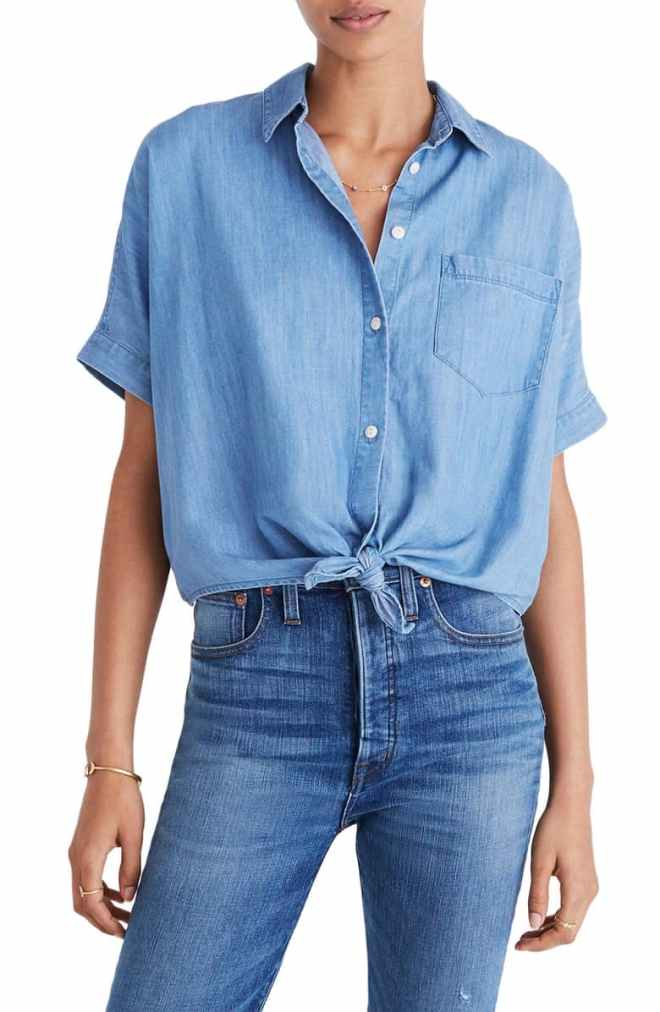 Tie Front Short Sleeve Denim Shirt