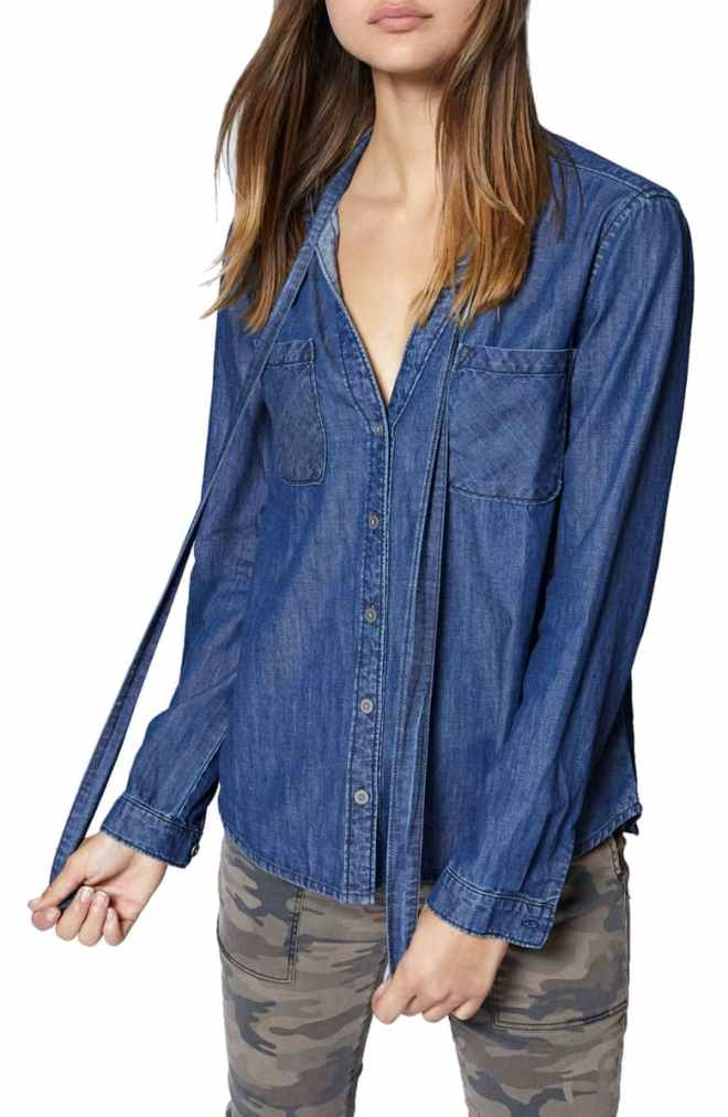 Tie Neck Chambray Shirt