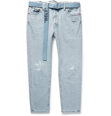 Tapered Belted Jeans