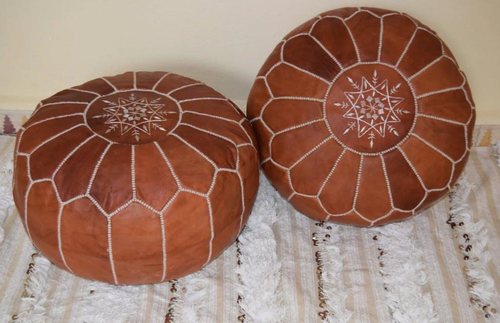 leather pouf, moroccan pouf