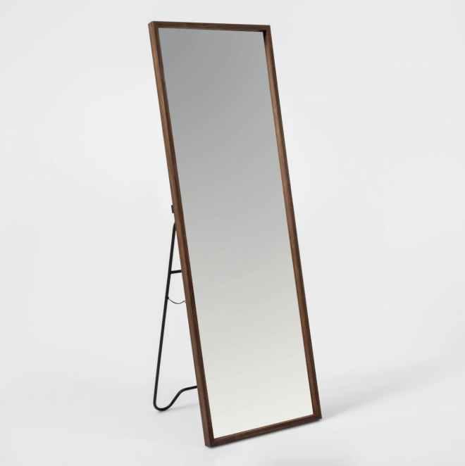 Walnut Hairpin Floor Mirror