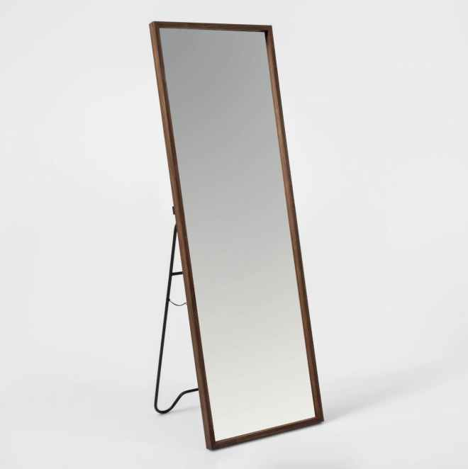 Walnut Hairpin Floor Mirror