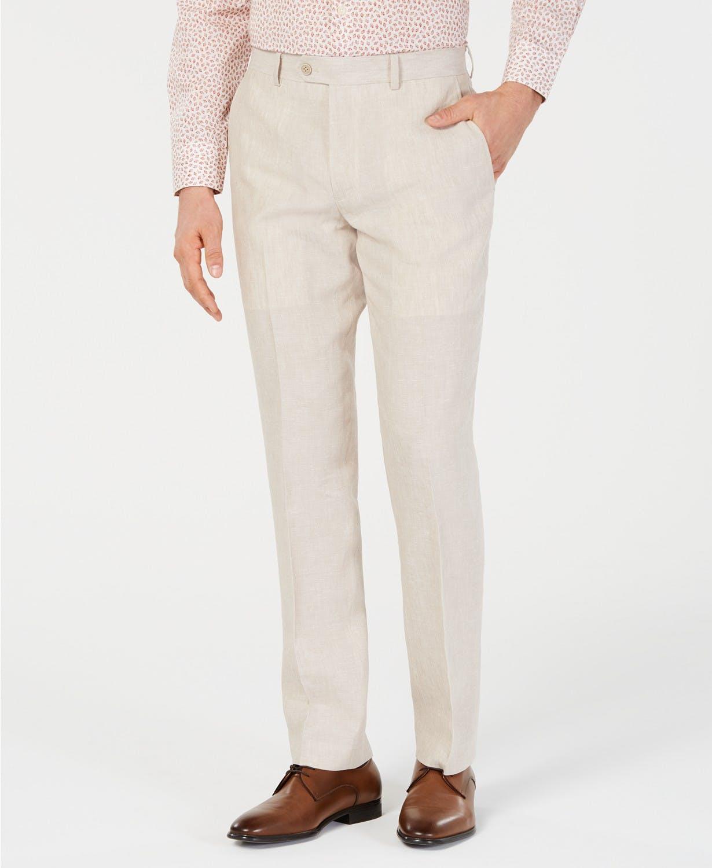 Men's slim fit linen khaki pants