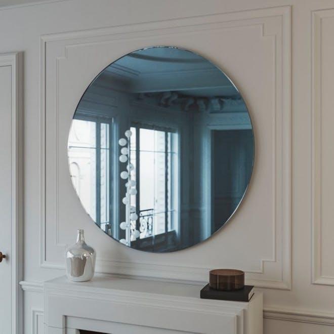 deco blue mirror, cobalt blue mirror