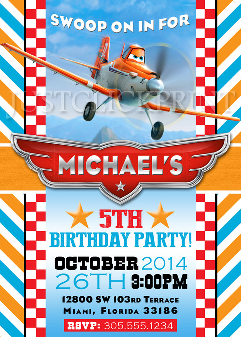 Planes Dusty Airplane Birthday Party Invitation Printable
