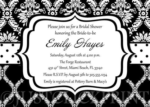 Black White Damask Bridal Shower Invitation Printable