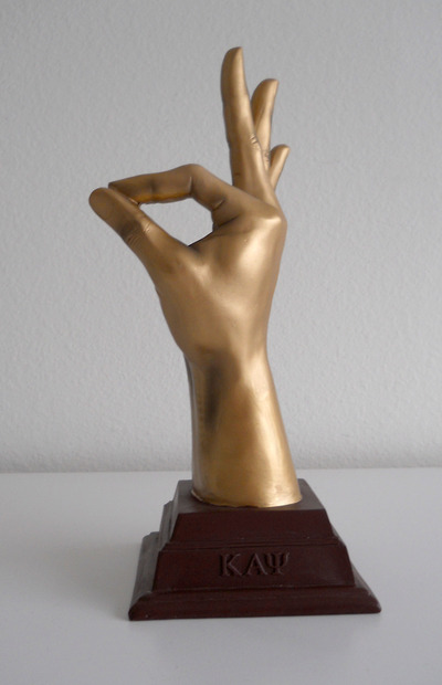 "The hand ""yo"" kappa alpha psi sculpture"