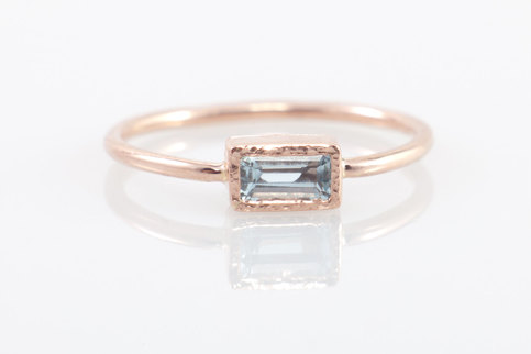 Aquamarine Engagement Ring In 14k Rose Gold Rectangular Gemstone Ring Solid 14k Gold Jewelry