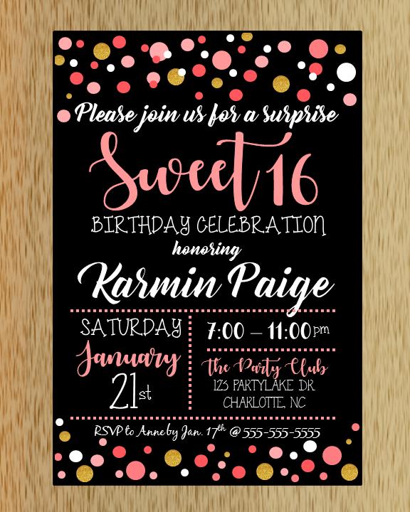 sweet 16 birthday invitation macanne