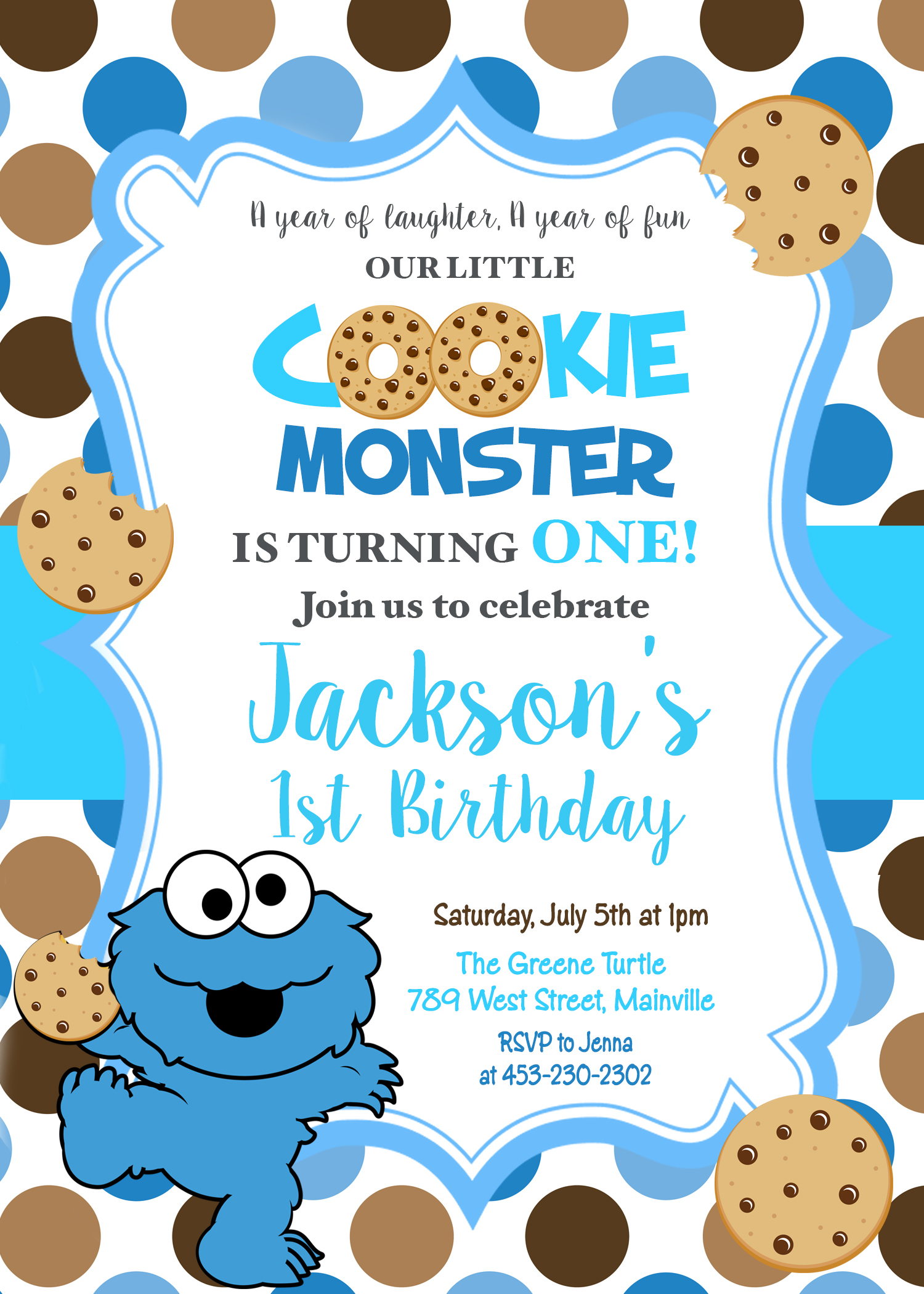cookie monster first birthday one year