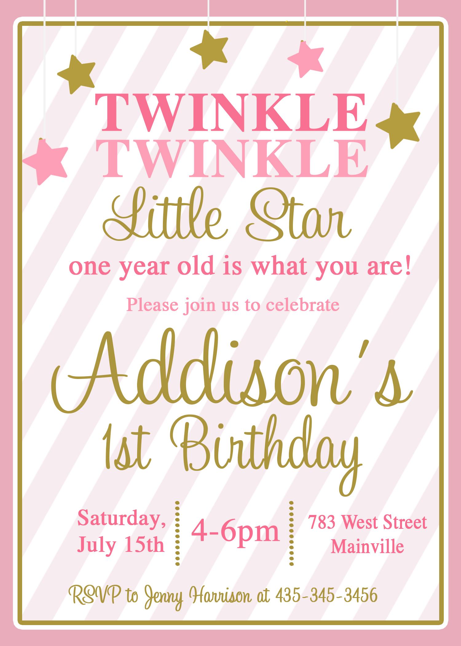 twinkle little star invitation pink