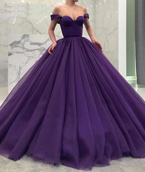 Princess Ball Gown Purple Off The Shoulder Long Prom