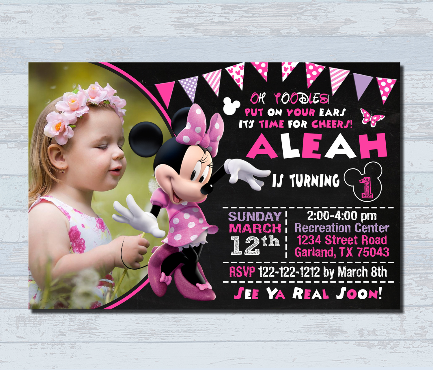 Birthday Invitations Personalized Invitation Minnie Mouse Birthday Card With A Photo Party Ideas Trisha Studio Online Store Powered By Storenvy