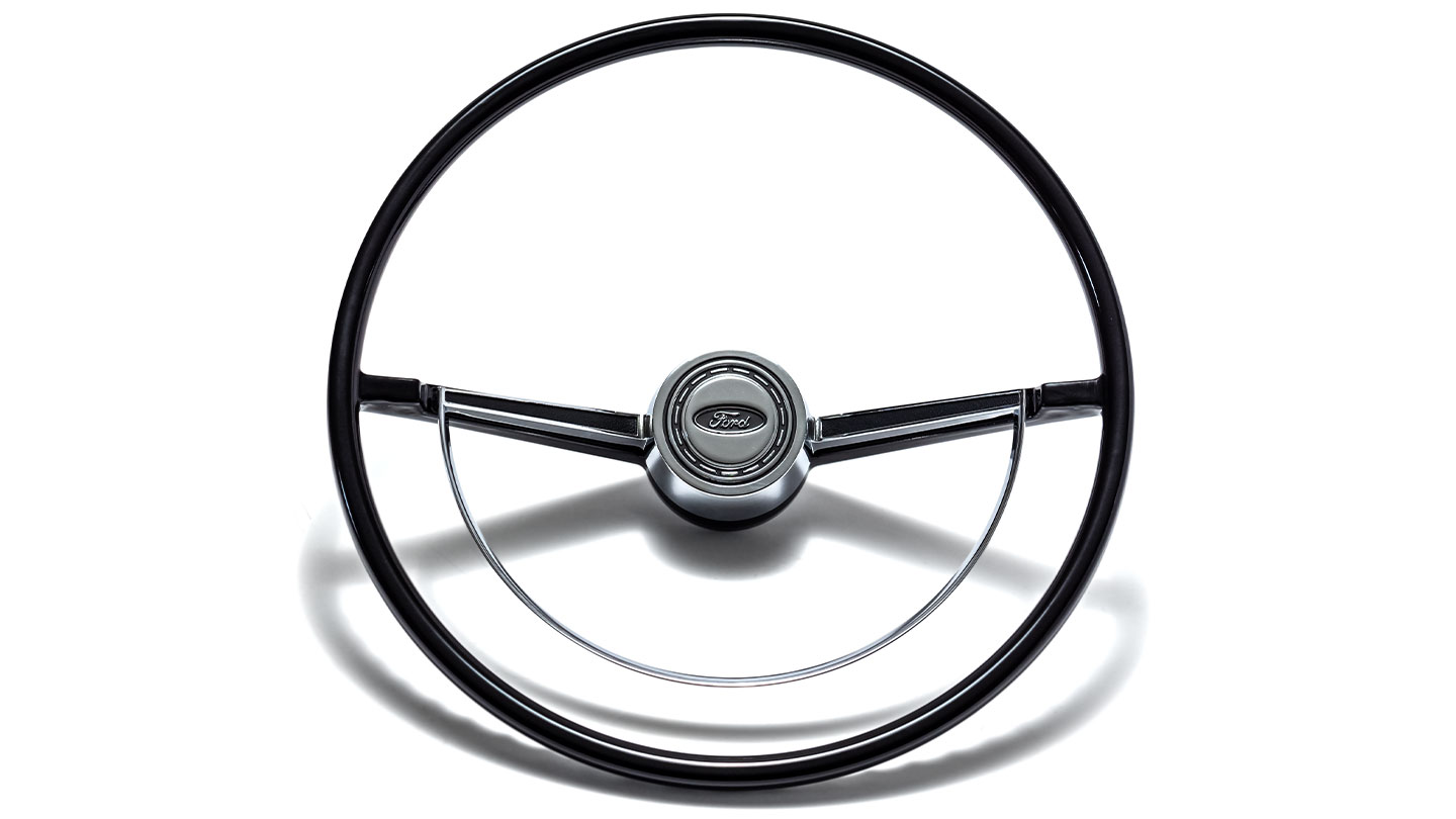 Factory Steering Wheel With Chrome Half Moon Horn Ring 66