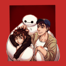 Big Hero 6_color version T Shirts  Design by ArashiC Baymax, Hiro and Tadashi