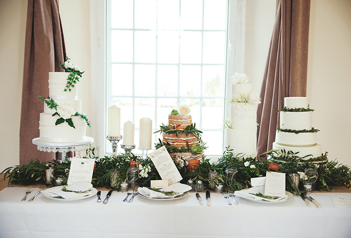 White and Green Wedding Cakes Rustic