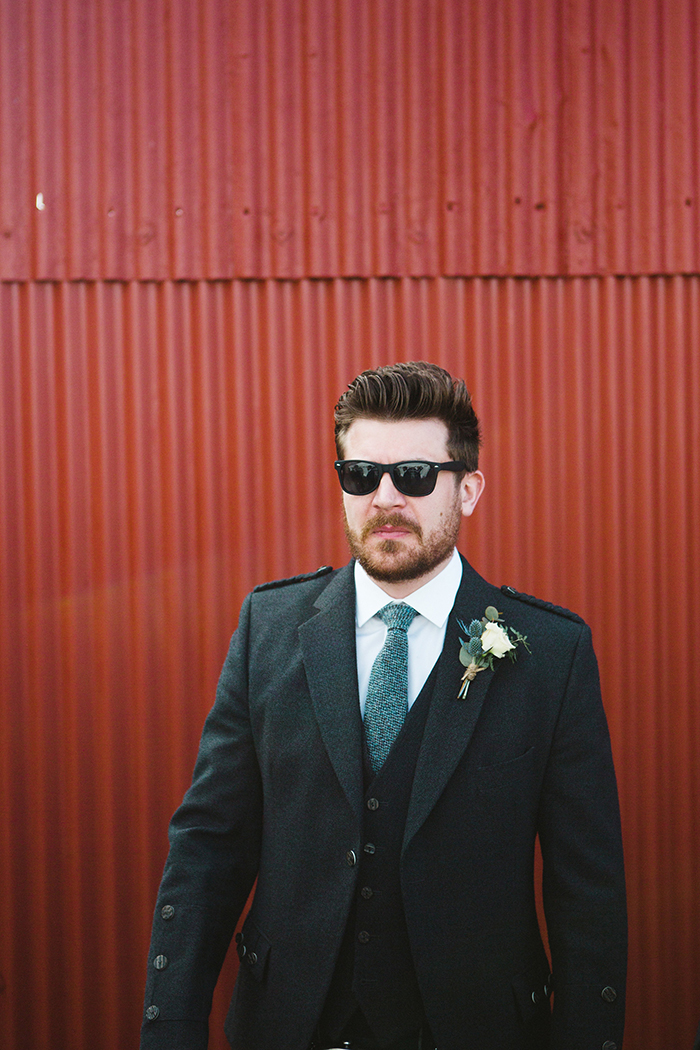 Dalduff Farm rustic barn wedding The Gibsons groom