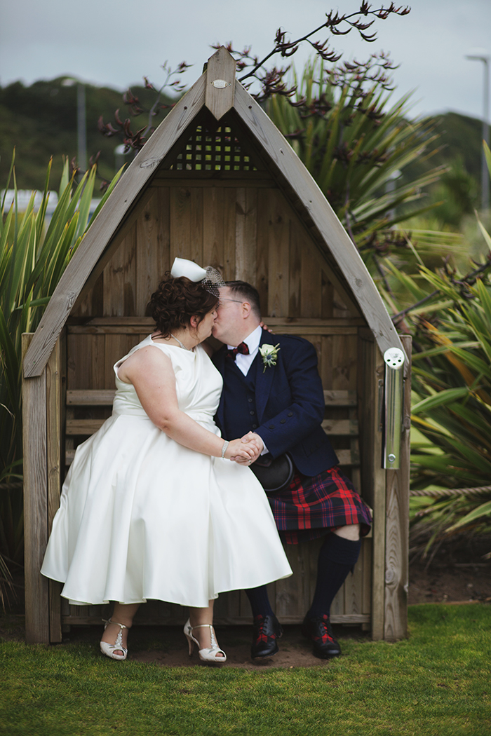 Real Wedding at The Waterside Hotel Ayrshire. Laura A Tiliman Photography. Couple kiss