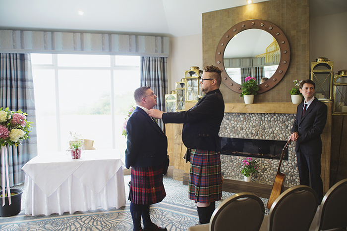 Real Wedding at The Waterside Hotel Ayrshire. Laura A Tiliman Photography. Groom and best man
