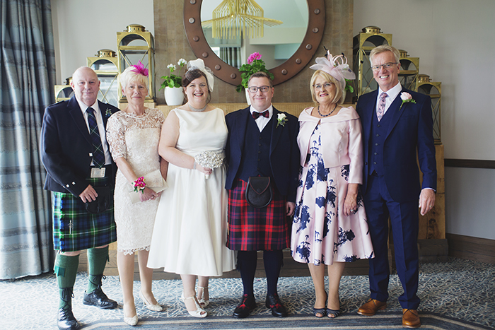 Real Wedding at The Waterside Hotel Ayrshire. Laura A Tiliman Photography. Bride and groom with family