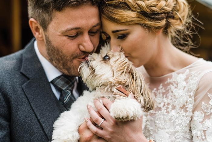 Photos by Zoe rustic PapaKåta tipi wedding - couple and dog