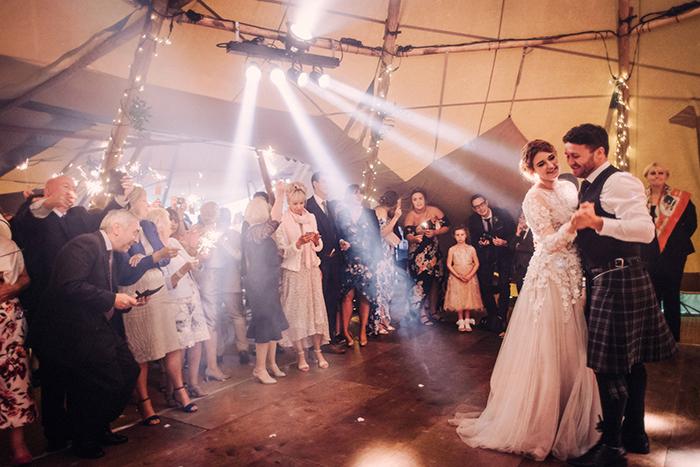 Photos by Zoe rustic PapaKåta tipi wedding - first dance