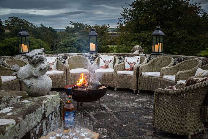 Firepit at Turin Castle wedding venue. Kirstie Abbey Photography