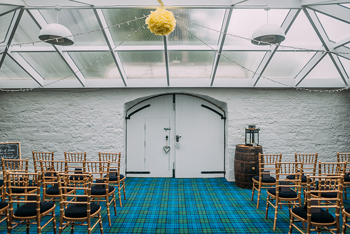 tartan room set up for a ceremony at Turin Castle