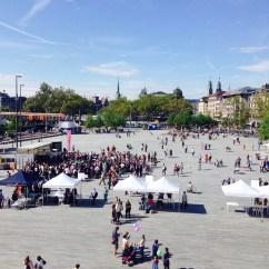 the view of Sechseläutenplatz from the balcony of Zurich Opera House