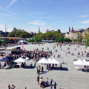 the view of Sechseläutenplatz from the balcony of Zurich Opera House