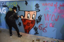 """Workshop with Alec Monopoly in his """"atelier"""" at the TAG Heuer Manufacture, Alec is painting an animated version of himself"""