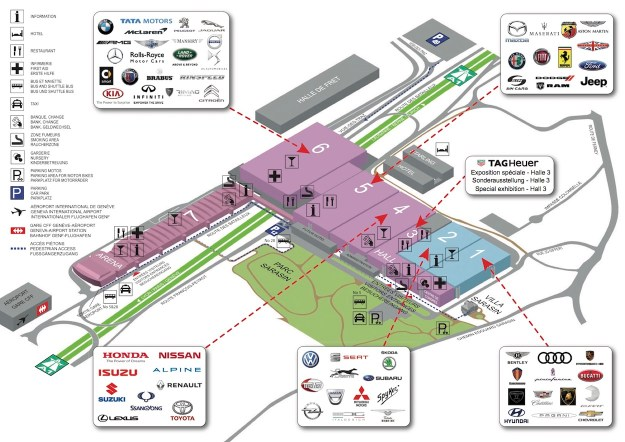 The general map of the halls at 87th Geneva International Motor Show