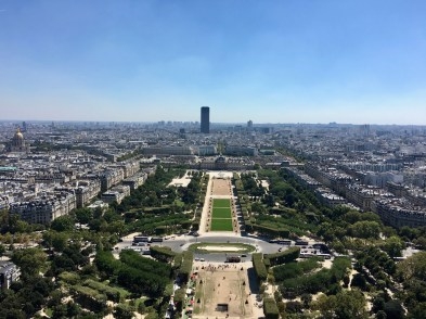 Paris, Eiffel Tower, view over Champ de Mars