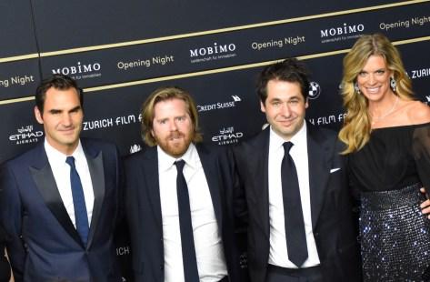 13th ZFF, Roger Federer, Janus Metz Peders, Karl Spoerri and Nadja Schildknecht at the ZFF Opening Night, Green Carpet, Gala Premiere of BORG/McENROE