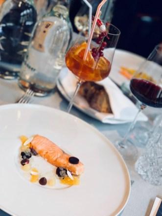 The Coffee-Wine-Food presentation by Mövenpick. Dish: Ora King salmon, cooked in coffee oil with mandarin & Yuzu. Cocktail: Mövenpick Lemonade. Wine: 2014 ÉO Noir.