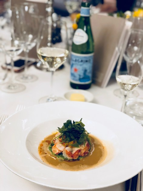 S.Pellegrino Sapori Ticino 2018, the Gala Dinner at the Hotel Schweizerhof Bern & THE SPA. Served: Lobster, curry, peas, fruit chutney, sprouts