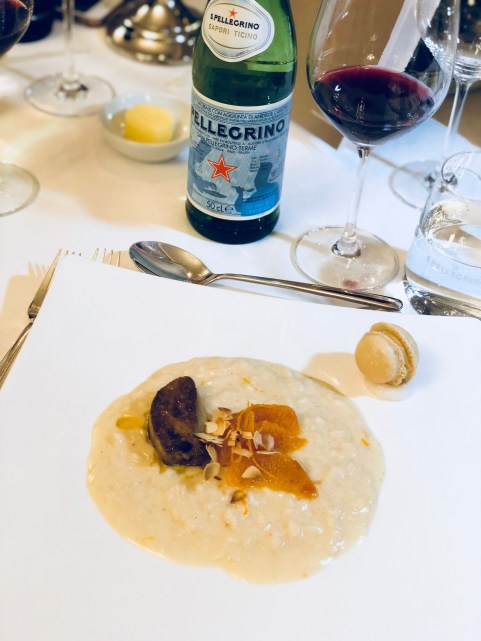 S.Pellegrino Sapori Ticino 2018, the Gala Dinner at the Hotel Schweizerhof Bern & THE SPA. Served: Riso Gallo Gran Riserva, roasted almonds, blood orange, goose liver