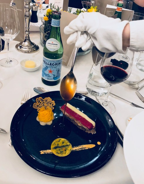 S.Pellegrino Sapori Ticino 2018, the Gala Dinner at the Hotel Schweizerhof Bern & THE SPA. Served: Slow-cooked veal back flavoured with Kampot pepper, Nocino sauce and vegetable fantasy