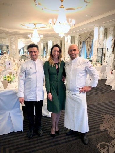 S.Pellegrino Sapori Ticino 2018. The Gala Dinner at the Hotel Schweizerhof Bern & THE SPA. With chefs Mauro Grandi (on the left) and Egidio Iadonisi (on the right)