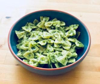 Homemade pesto with Farfalle pasta