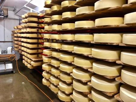 Rüegsegg cheese dairy in Röthenbach. Cheese cellar