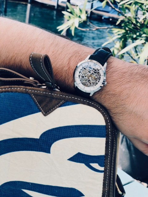 Style details: Watch - JULIEN DE BOURG, the Beauvoir collection, Beauvoir Silver; Backpack - ELEPHBO