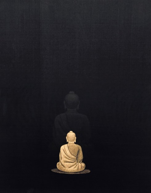 Kunst 18 Zürich, the SIMYO gallery from Seoul. Buddha (gold-powder on silk) by Lee, Hae Gee