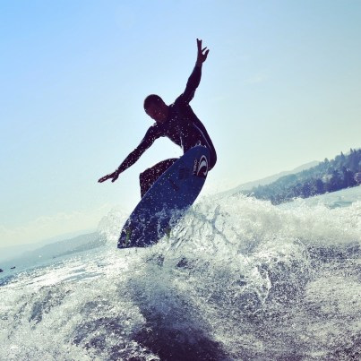 Lake surfing on Lake Zurich