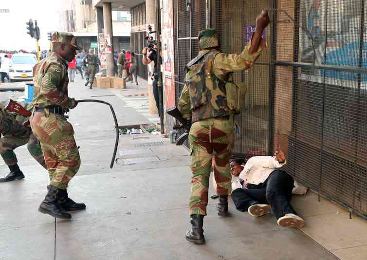 Soldiers in Harare were quick to crack down on opposition supporters protesting the delay in election results. Photo credit: Reuters