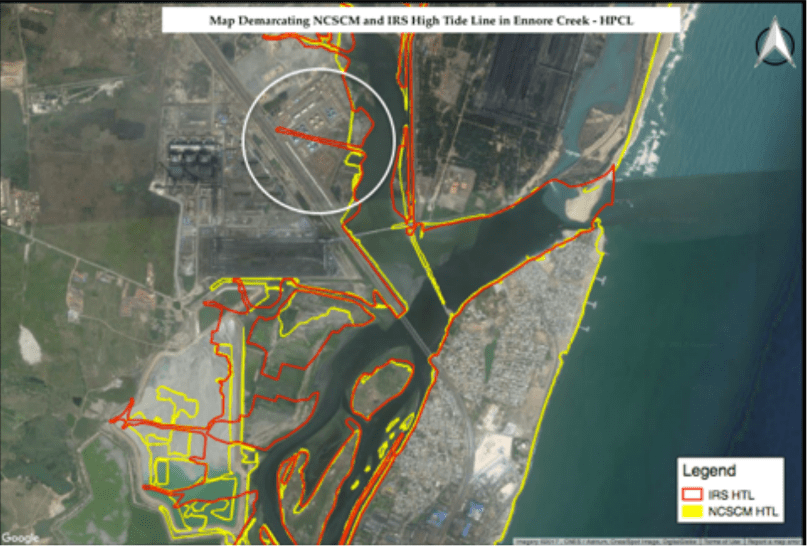The encroachment by Hindustan Petroleum Corporation Limited has been ignored. Image credit: The Coastal resource Centre.