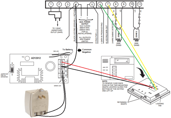 can i wire a 6150 to an aux power supply  alarm grid