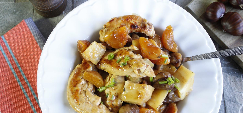 poulet aux marrons et abricots cookeo